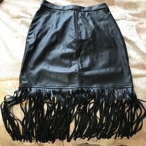Fake Leather Skirt With Tassels